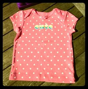 ❇️ Carter's pink t-shirt heart print CUTE 🍭 9m